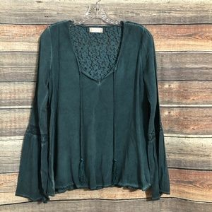 Altar'd State Size XS Distressed Teal Lace V Neck Bell Sleeve Top